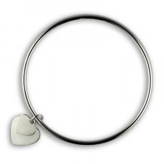 Bracelet JONC Argent massif  COEUR DOUBLE à personnaliser