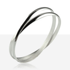 Bracelet 2 Anneaux Argent MASSIF 5MM
