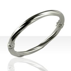 Bracelet Argent OUVRANT OVALE TORSADE D6