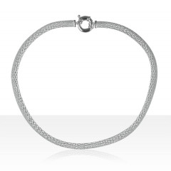 Collier Argent CHAINE PLATE DIAMANTEE GM  45CM