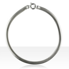 Collier Argent SERPENT PLAT 8mm   45cm
