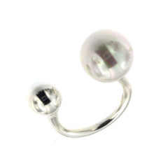 Bague Argent BOLA 12/8 MM (PERLE BLANCHE synt./ARGT)