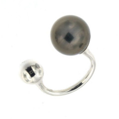 Bague Argent BOLA 12/8 MM (PERLE TAHITI synt./ARGT)