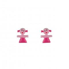 Boucles d'oreilles PETITE FILLE Argent & email rose