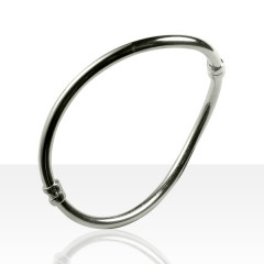 Bracelet Argent RIGIDE FIL ROND VAGUE
