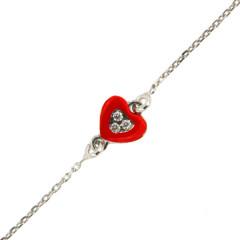 Bracelet Coeur Oxyde Laque rouge / Argent