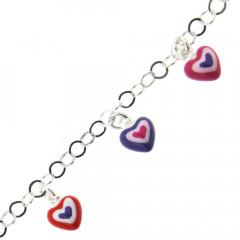 Bracelet Argent ENFANT PP 5 Coeurs Rose/violet/Rouge L: 14+2cm