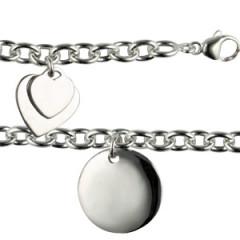 Bracelet Argent 3 Médailles TRIO COEUR A GRAVER GM