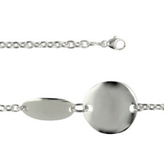 Bracelet Argent Médailles ovales DUO