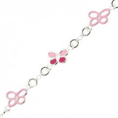 Bracelet Argent ENFANT  Papillons laqués & ajourés rose  L: 14+2 cm