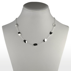 Collier Argent 5 OVALES CHAINE 42CM