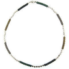 Collier Argent MASSAÏ Hématite 45cm