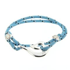 Bracelet Argent Hameçon CAP COZ  Maori double - Bleu clair