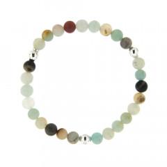 Bracelet perles Amazonite Aqua 6mm Argent