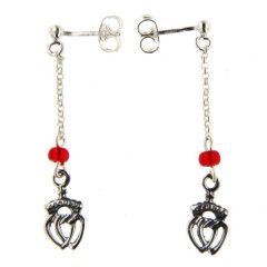 B.O. Argent PP Coeur vendéen - Perles rouge
