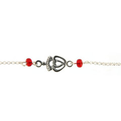 Bracelet Argent Coeur vendéen - perles rouge