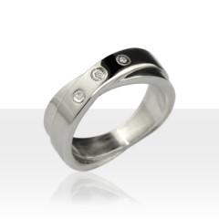 Bague ECLAT Argent 3 Diamants entrelacés