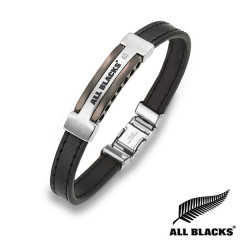 Bracelet Acier CUIR COUTURE CARTOUCHE  ALL BLACKS