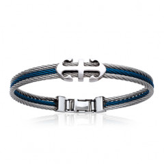 Bracelet ANCRE DOUBLE Cable Acier bicolore bleu