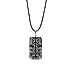 Collier Acier VISAGE MAORI RECTANGLE