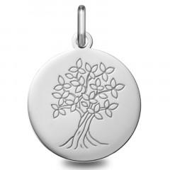 Médaille jeton Arbre de vie Or blanc 18 carats
