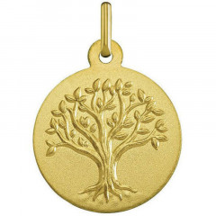 Medaille arbre de vie or sablé - 18K - bapteme