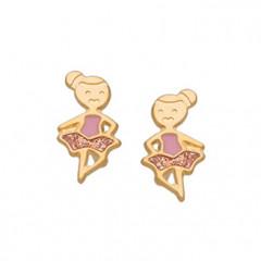 Boucles d'oreilles DANSEUSE Or 18 carats - Rose & Paillettes - Bijoux Enfant