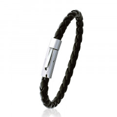 Bracelet NOIR CUIR TRESSE ACIER