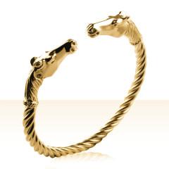 Bracelet Plaqué Or JONC TORS TETES FA GM