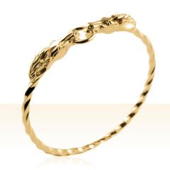 Bracelet Plaqué Or JONC VRILLE TETES ANNEAUX GM
