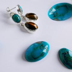 B.O Pendant Argent KHEOPS Double 8/6+12/9 Turquoise & Oeil de tigre