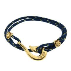Bracelet Plaqué Or Hameçon Maori CAP COZ double - bleu