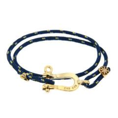 Bracelet Paqué Or Manille CAP COZ double - bleu