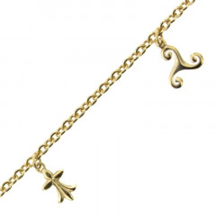 Bracelet breton plaqué Or : triskell, hermine, fleur de lys