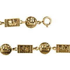 Bracelet Plaqué Or PAYS CELTES RONDS/BATEAUX