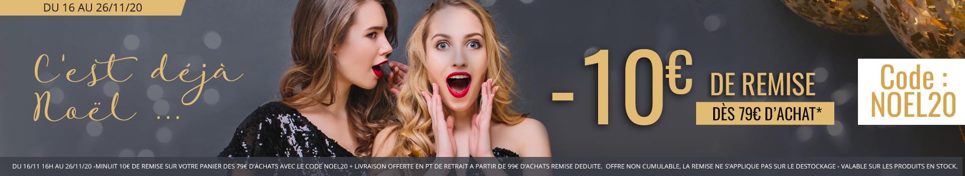-10€ dès 79€ d'achats avec le code NOEL20 jusqu'au 26/11/20