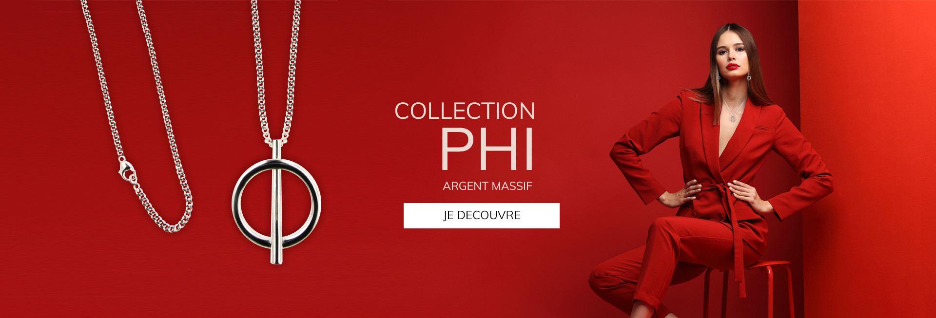 Collection PHI, bijoux Argent massif fabriqué en France artisanalement : jonc argent, bague argent massif, sautoir au design épuré et tendance. Résisterez-vous à cette collection de créateur?