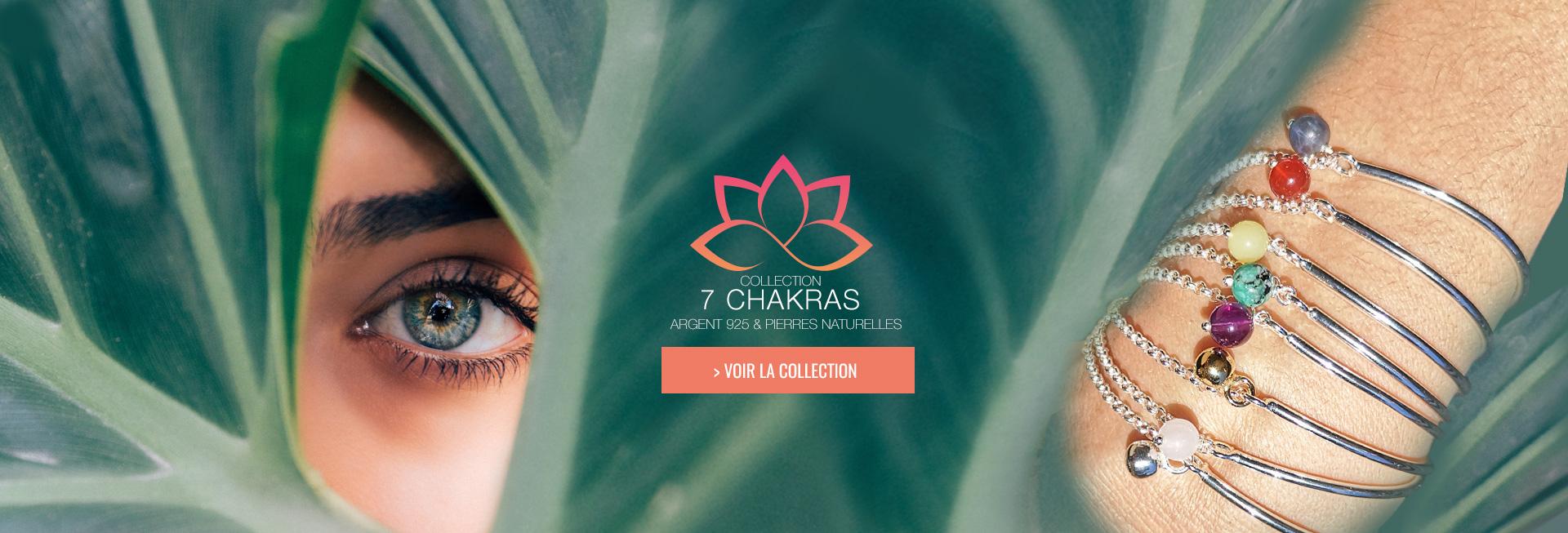 Découvrez notre collection 7 chakras, des bijoux Yoga en Argent 925 et pierres naturelles made in France, découvrez l'Aum, décliné en bracelet 7 chakras, collier, etc