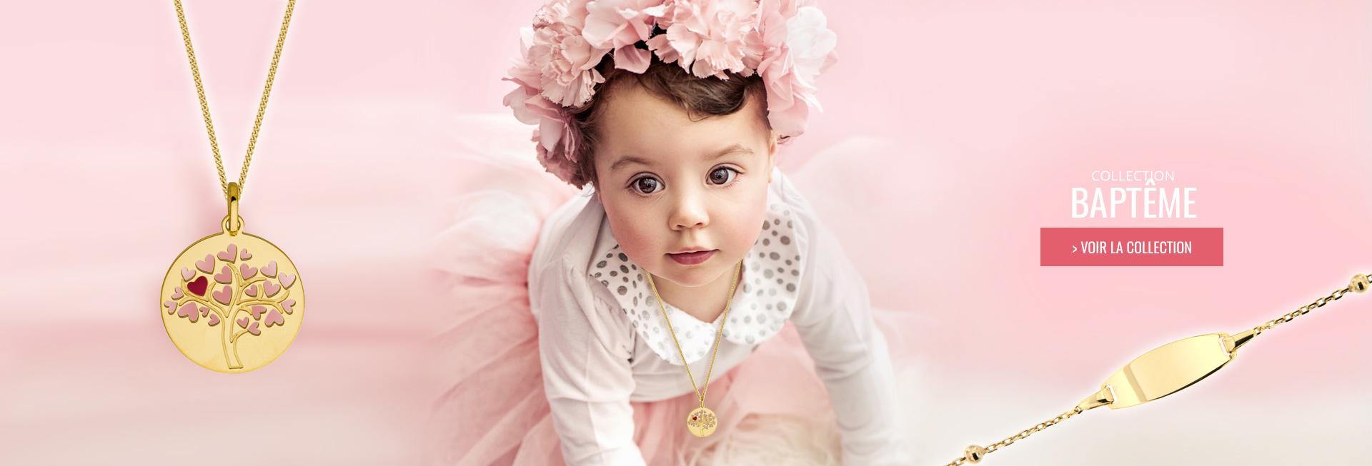 Vente en ligne de nombreux modeles de Bijoux pour le Bapteme, découvrez notre collection de medaille bapteme Or, de gourmette bébé à petit prix, garantie un an, et gravure sur tous nos modèles évenement