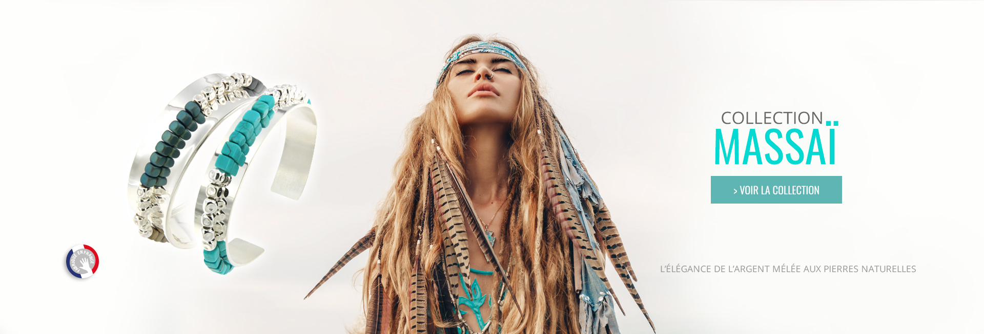 Découvrez nos Bijoux Massaï, bracelet ethnique chic en Argent et pierre turquoise, made in France